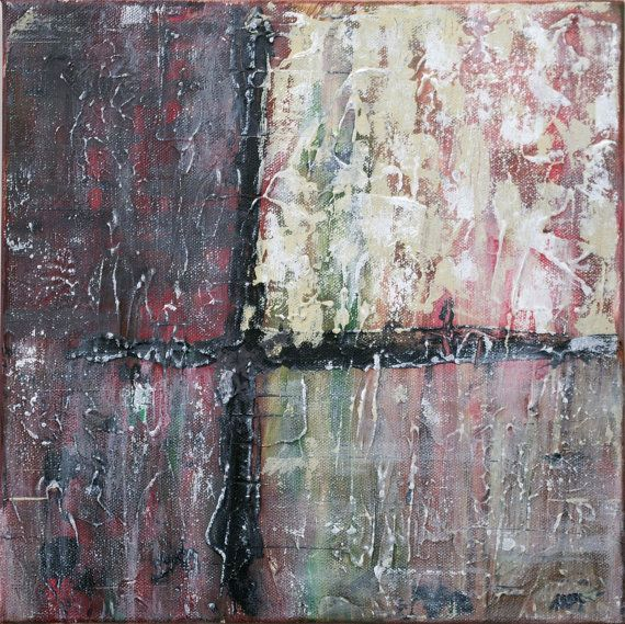 Small Abstract Acrylic Painting Textured Painting Red Painting Back