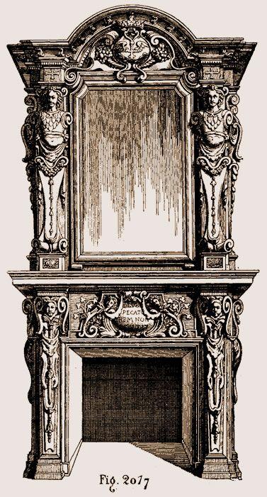 Cheminée En Bois Sculpté De Style Louis XIII