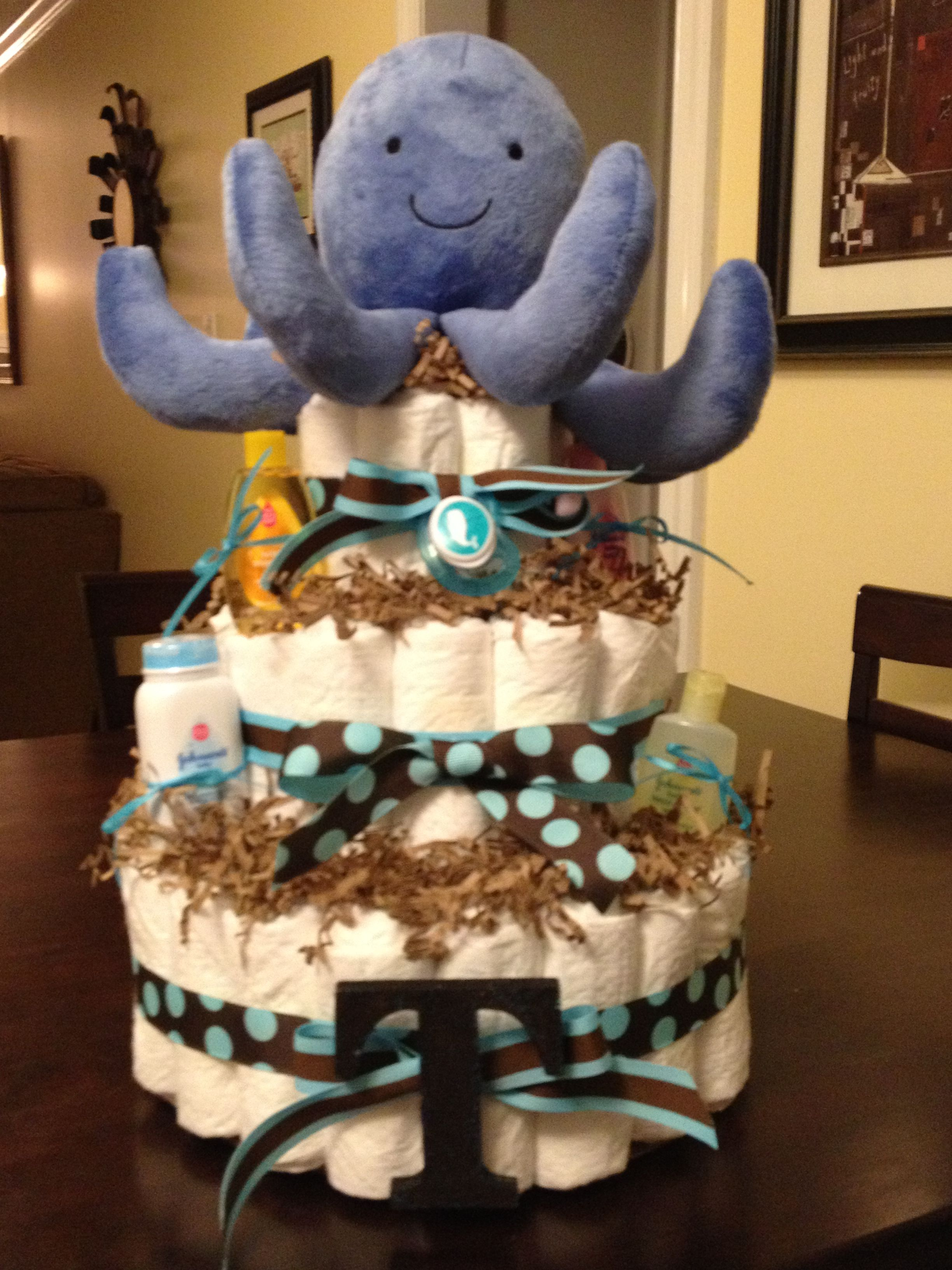 My first diaper cake under the sea themed diaper cake