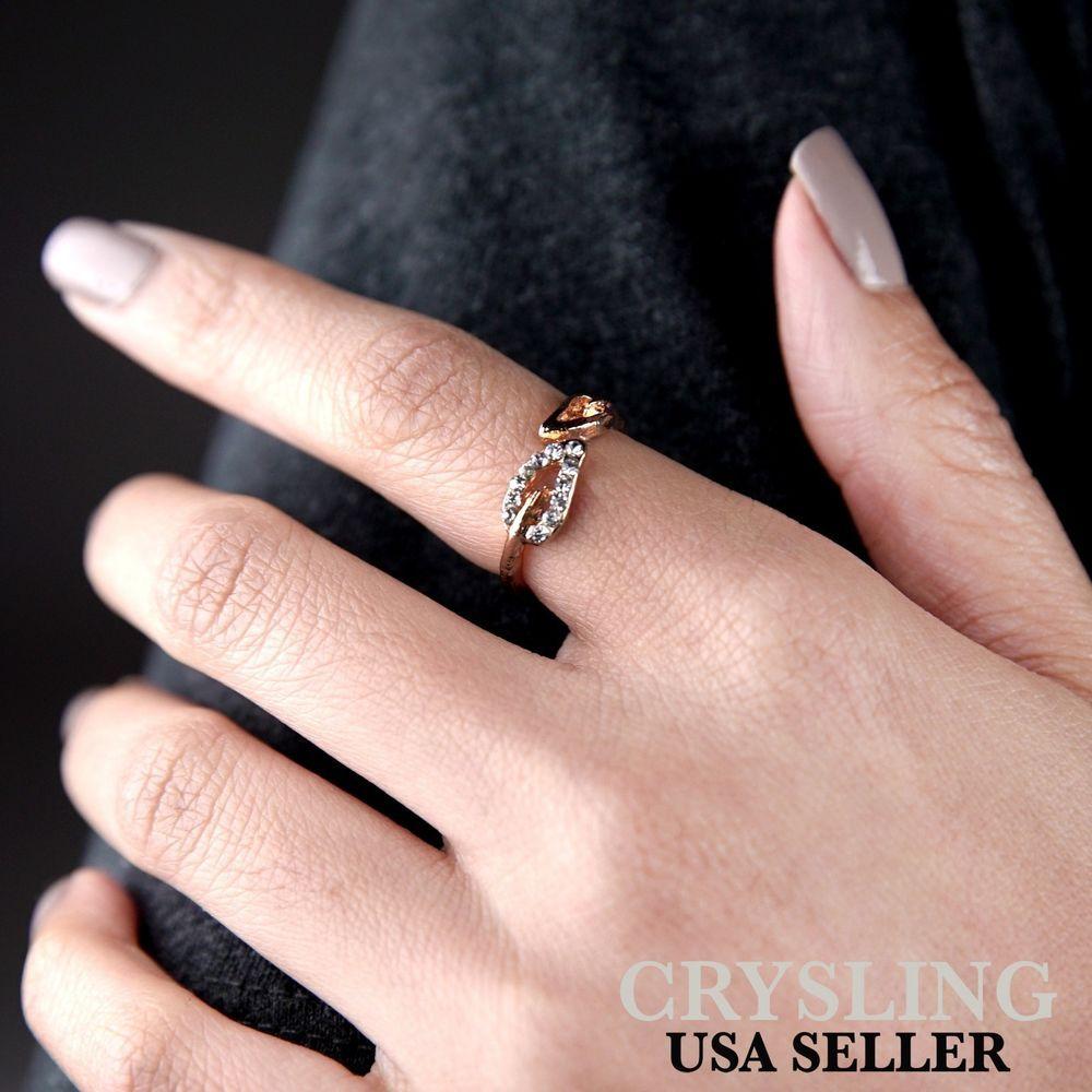 Fashion Gold Leaf Ring with Rhinestones Trendy Fashion Jewelry USA ...