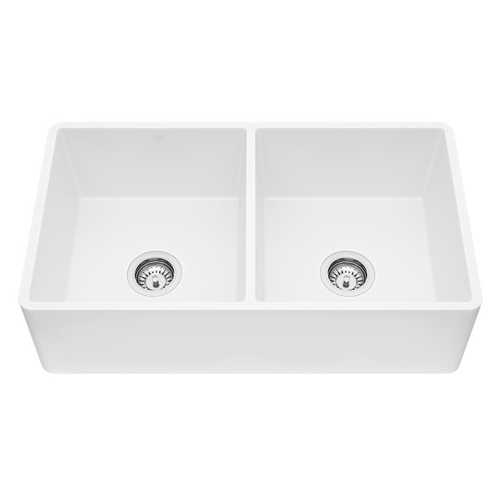Vigo Farmhouse Matte Stone Composite 33 In 0 Hole 50 50 Double Bowl Kitchen Sink With 2 Strainers In Matte White Vgra3318blfl In 2020 Double Bowl Kitchen Sink Sink Apron Front Kitchen Sink