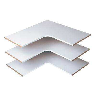 30 In D X 30 In W Classic White Wood Corner Shelf 3 Pack In 2020 Corner Shelves Wood Corner Shelves Easy Track Closet