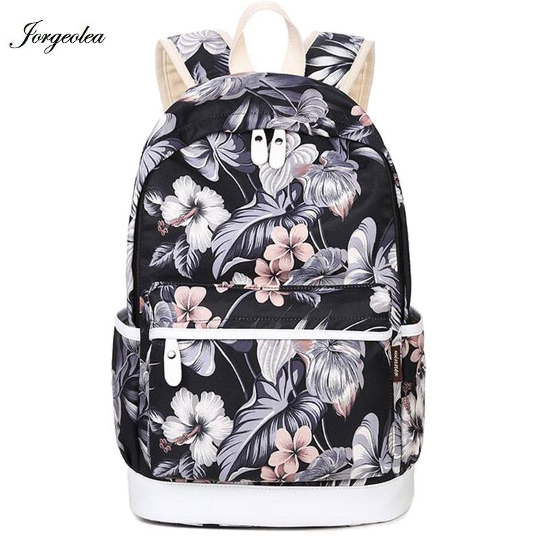 Jorgeolea Beautiful Flowers Pattern Female Backpack For Teenage ...