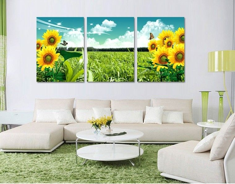 Free shipping 3panel wall art picture sunflower butterfly blue sky white cloud green grass on canvas