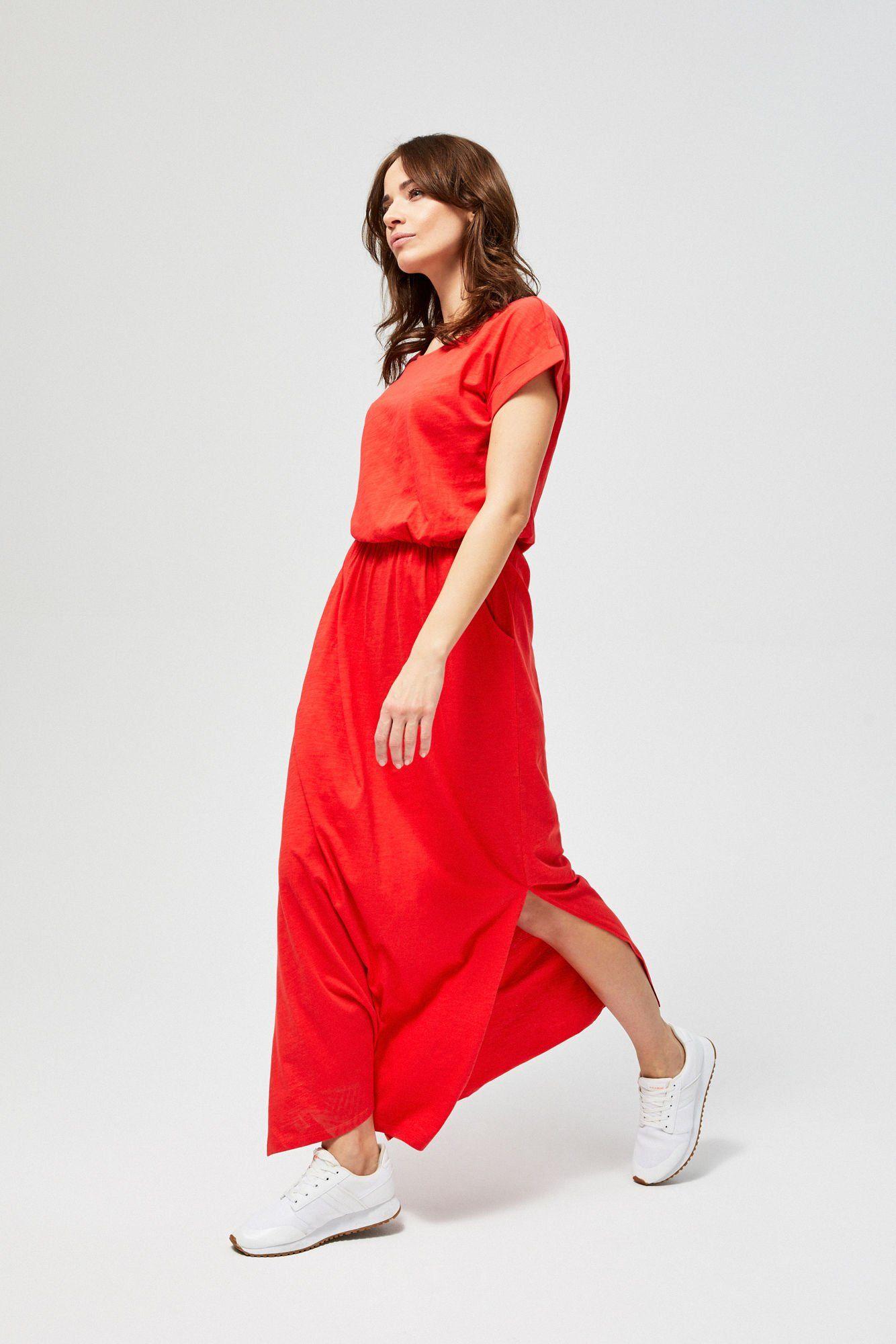 1e9ee50ddf Sukienka bawełniana typu maxi- koralowy