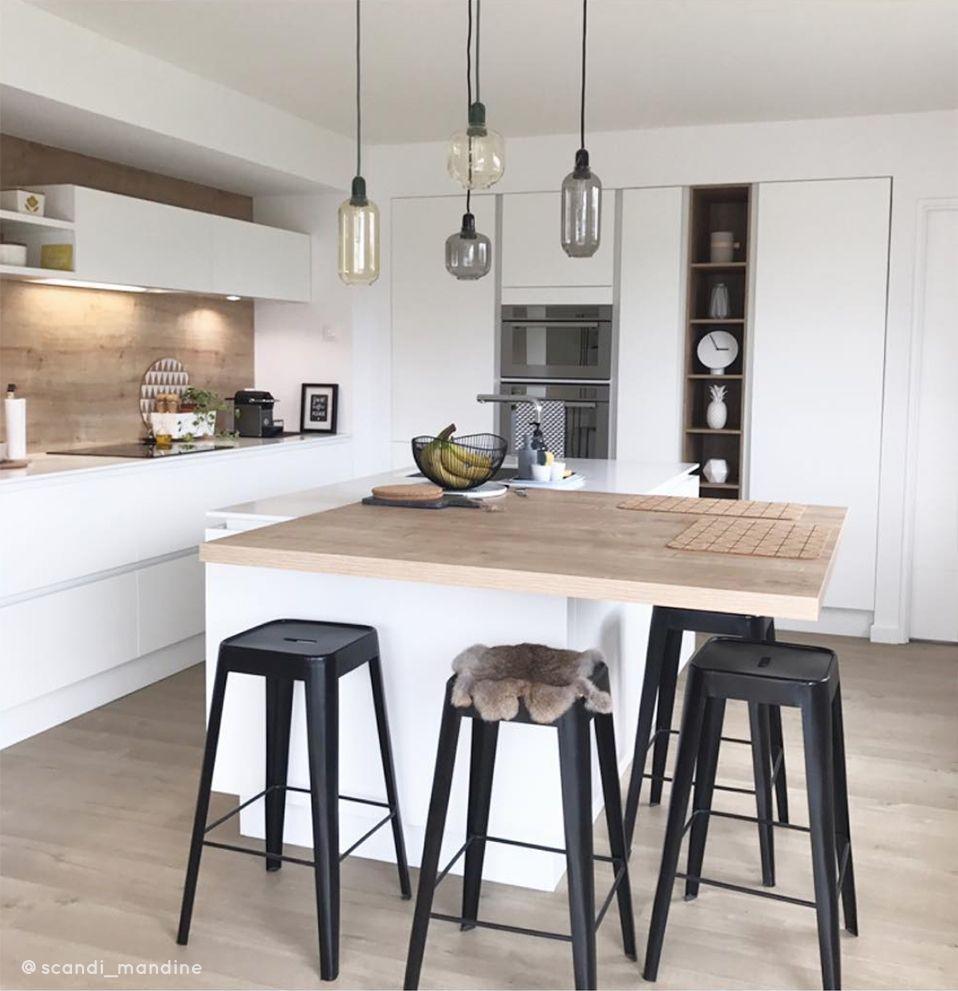 D co cuisine style moderne industriel tabouret bar noir Table haute avec tabouret pour cuisine