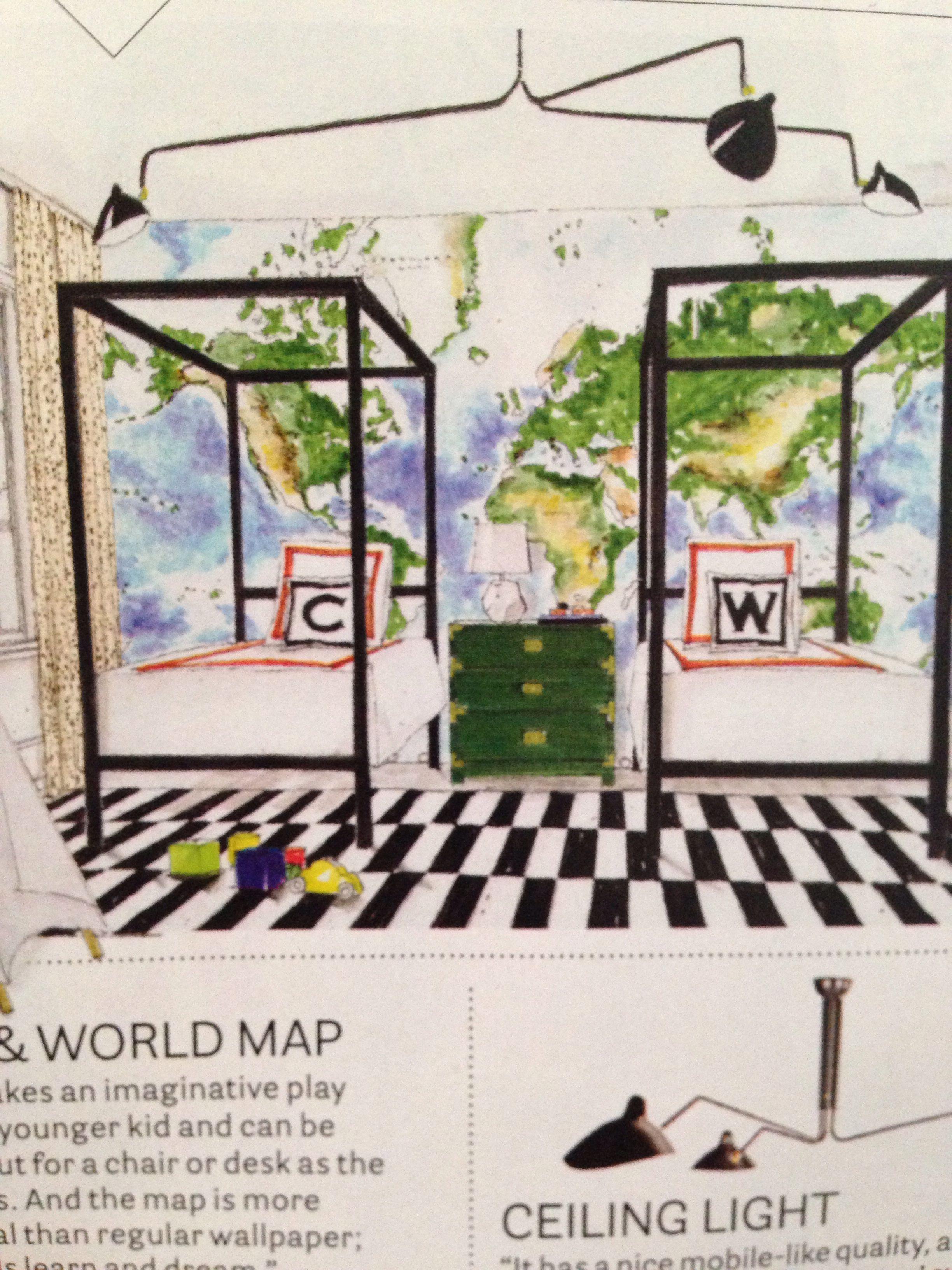 Pottery Barn World Map Mural