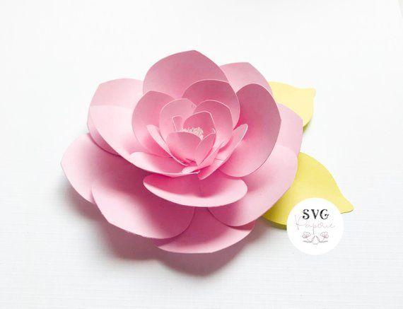Svg 3d Flower Template Large Rose Svg Instant Download Dxf
