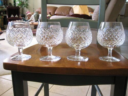 """IRISH WATERFORD ALANA SET OF 4 - 5 1/4"""" BRANDY SNIFFER GLASSES PERFECT SHAPE. The price of this waterford alana brandy sniffers is $150.00 but we always listen to offers."""