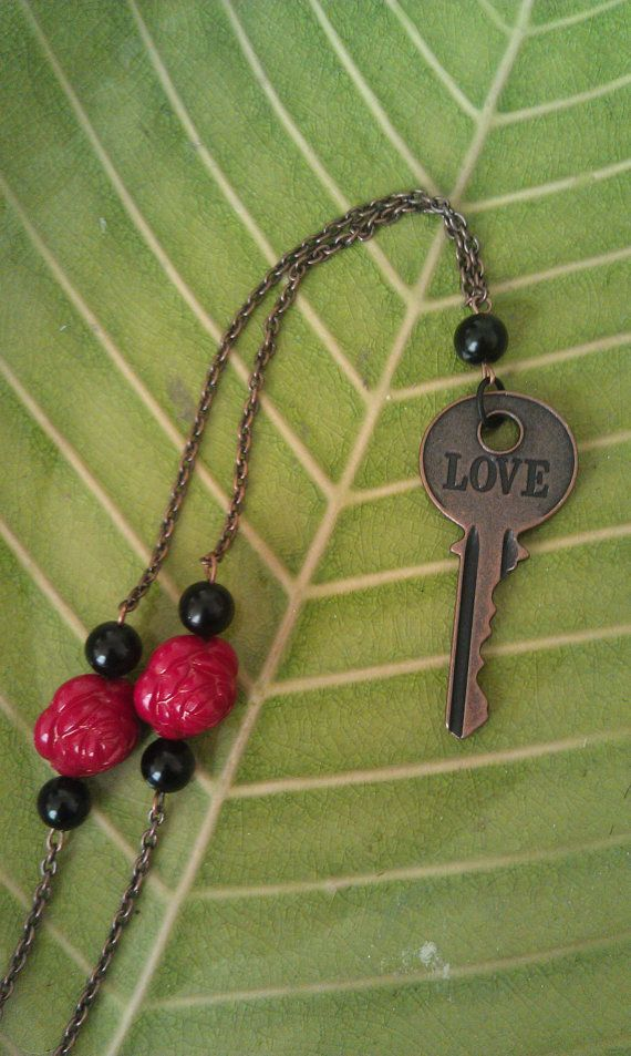Key To Love necklace with Rose accent beads by AdelaidsCreations, $11.00