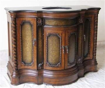 Burl Wood Bathroom Vanity Furniture | The Most Beautiful Spanish Style Bow  Front Vanity Online