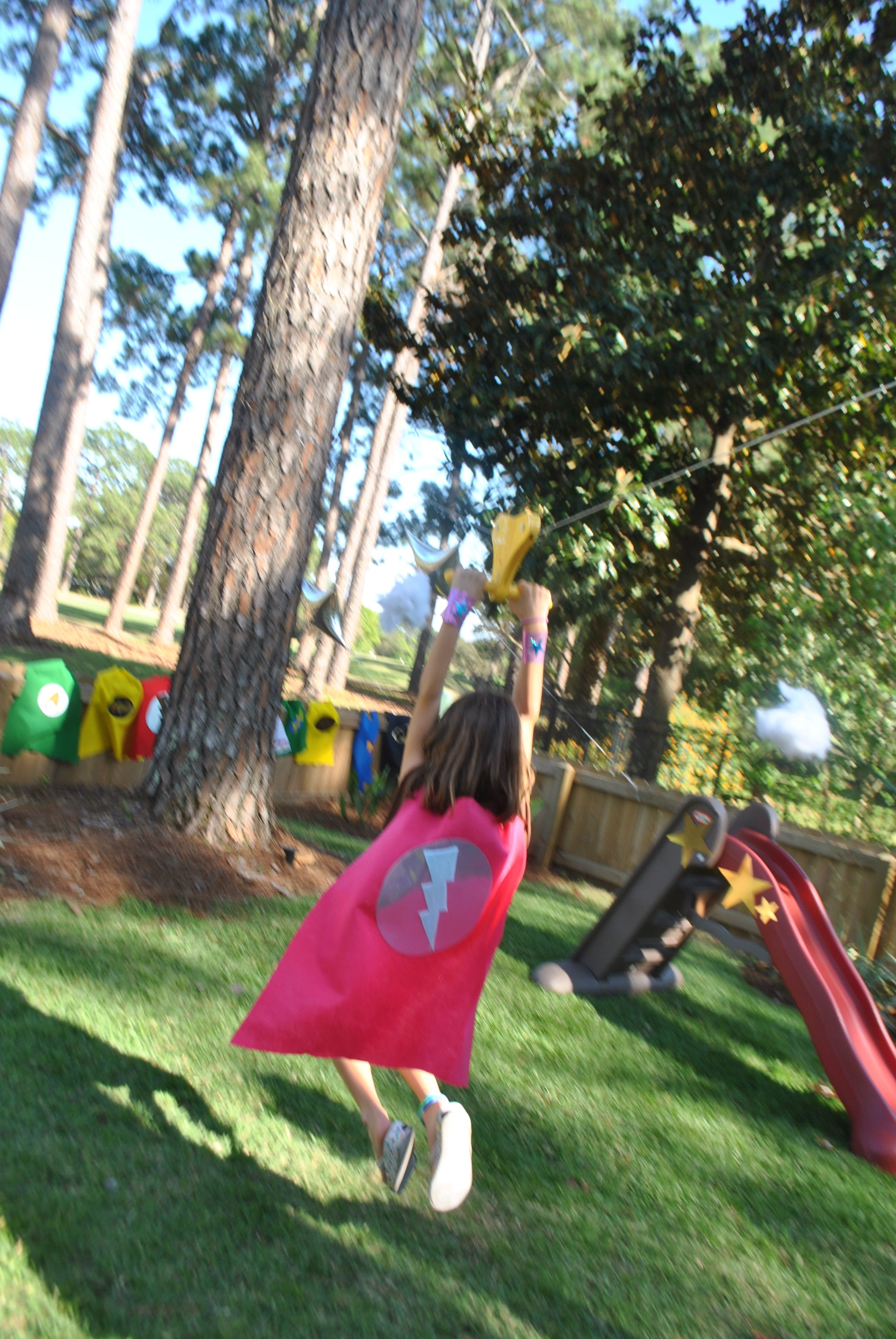 superhero zip line   Backyard for kids, Toddler fun, Backyard