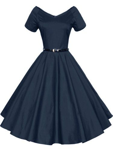 c69220bbfd3c Luouse 40s 50s 60s Vintage V-neck Swing Rockabilly Pinup Ball Gown Party  Dress…