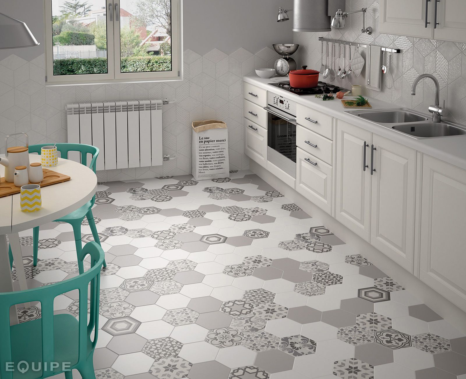 Carrelage hexagonal 17,5x20 Tomette Harmony B&W Hexatile 1m2 - As de ...