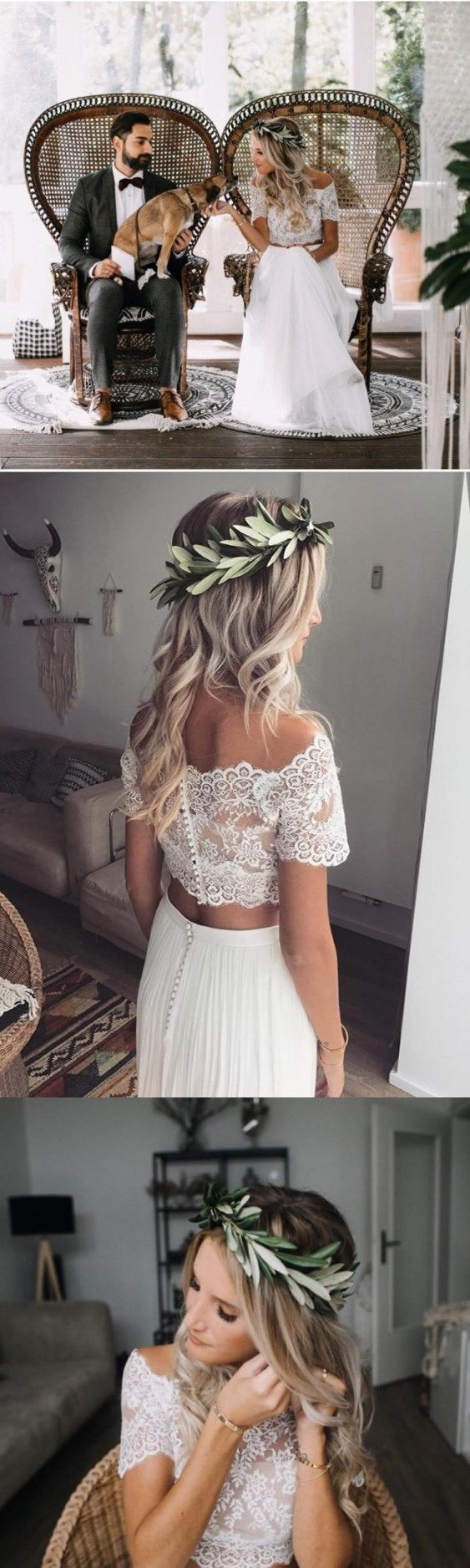 Two piece wedding dresses offtheshoulder lace short sleeve chiffon