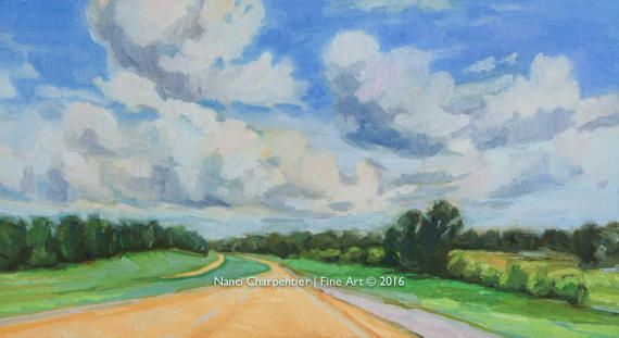 Divided Highway Original Oil Painting on Arches Oil Paper