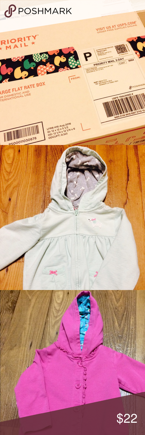 Posting for Liliana! Hey! I just wanted to let you know that I have shipped out your baby niece's package! I also came across two other little jackets in her size too, and I would LOVE to include these in a new shipment to you free of charge if you find anything else you like! Can't wait to hear how you like your newest shipments ;) xox, Katie Carter's Jackets & Coats