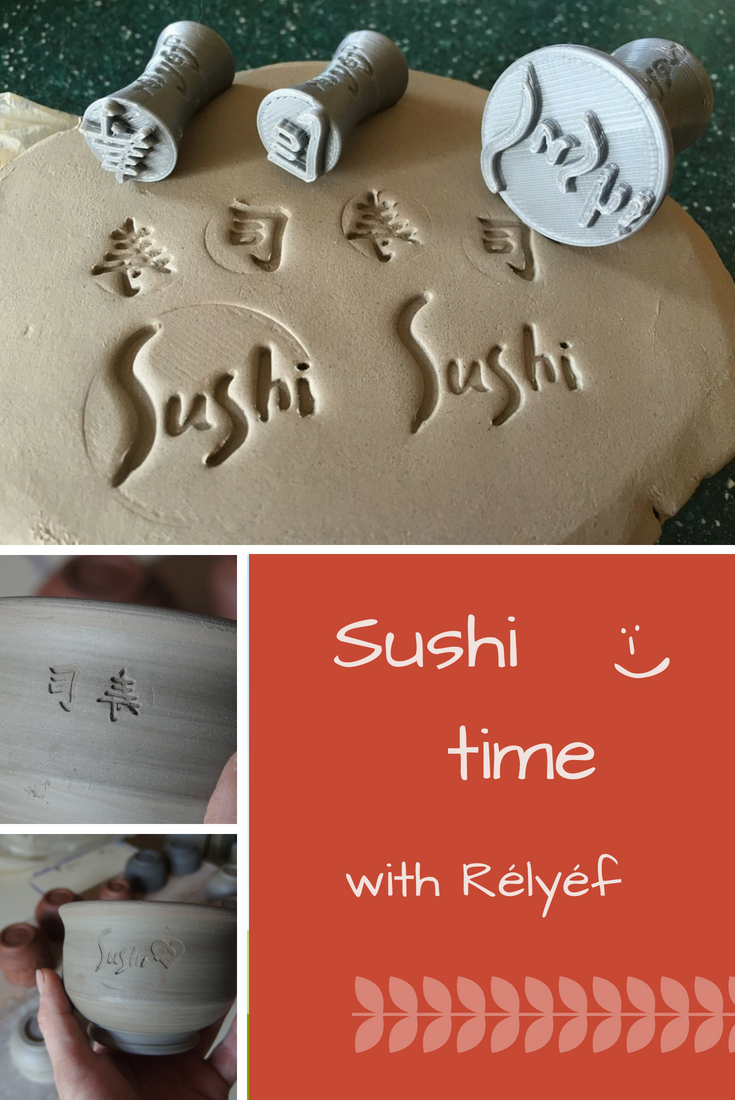 Pottery ideas of bowl for Japanese sushi made by Rélyéf pottery decorative tools - easy use for kids and beginners     #ceramics #potterytools #bowl #relyefcz #sushi