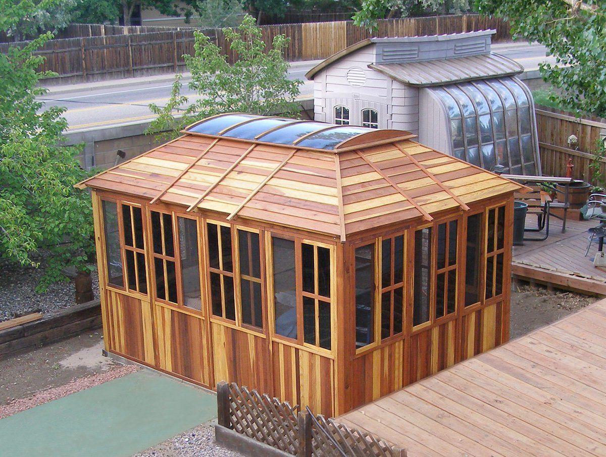 Spa Gazebo Options 10 L 14 W Redwood All Sliding Windows With Screens 4 X 6 Skylight 36 H Wooden Gazebo Kits Raised Bed Garden Design Wooden Gazebo