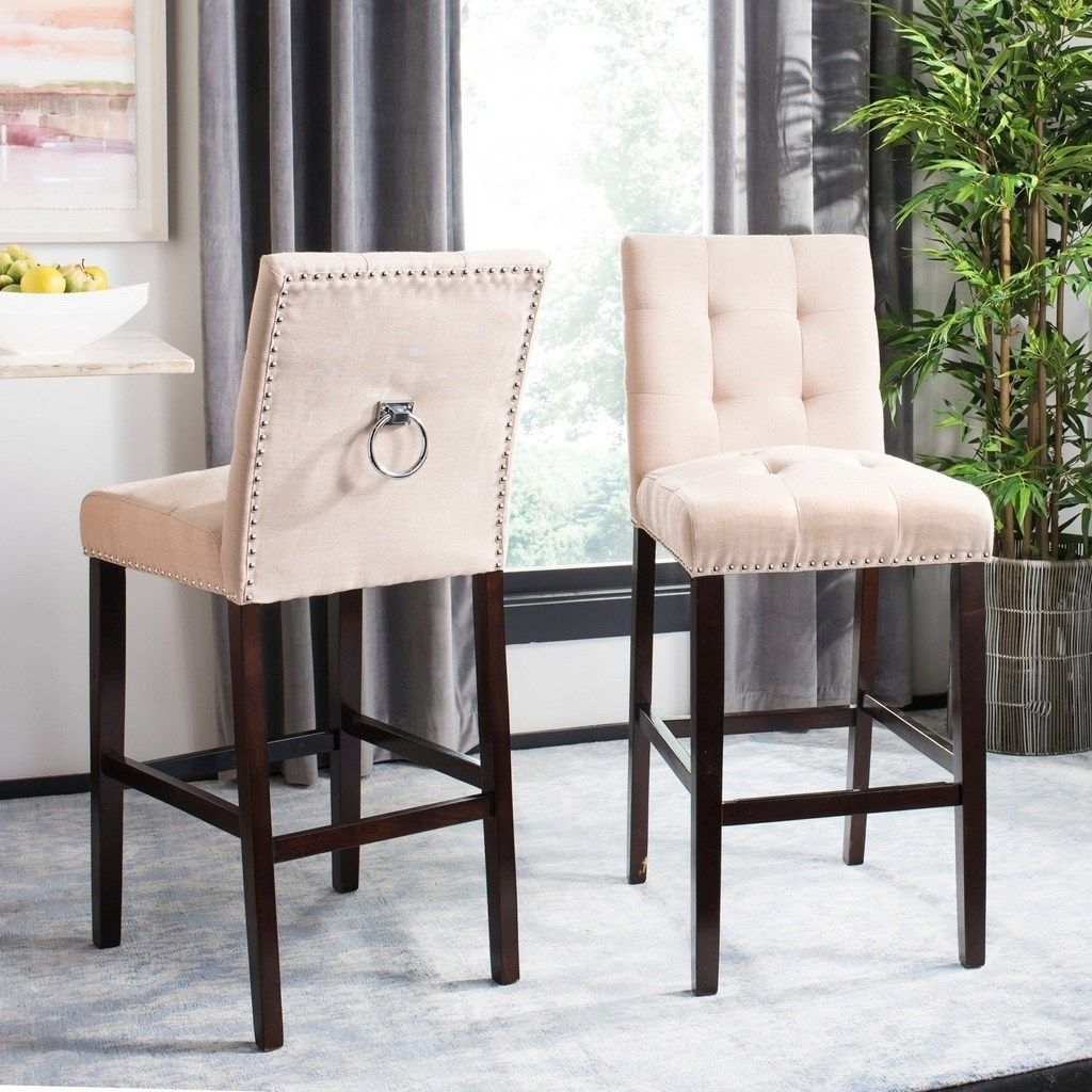 Amazing Safavieh 30 5 Nikita Bar Stool Beige Espresso Set Of 2 Creativecarmelina Interior Chair Design Creativecarmelinacom