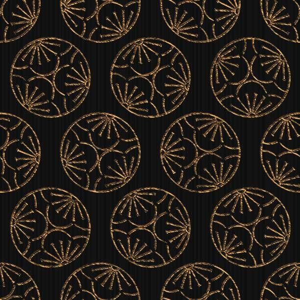 Seamless pattern based on japanese sashiko motif Mitsu Ume . Abstract…