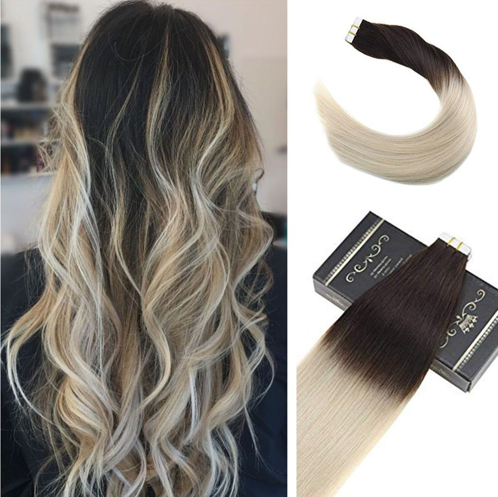Ugea 10pcs 22 Ombre Tape In Hair Extensions Dark Brown To Platinum Blonde Skin Weft Ugea Tape In Hair Extensions Ombre Hair Extensions Human Hair Extensions