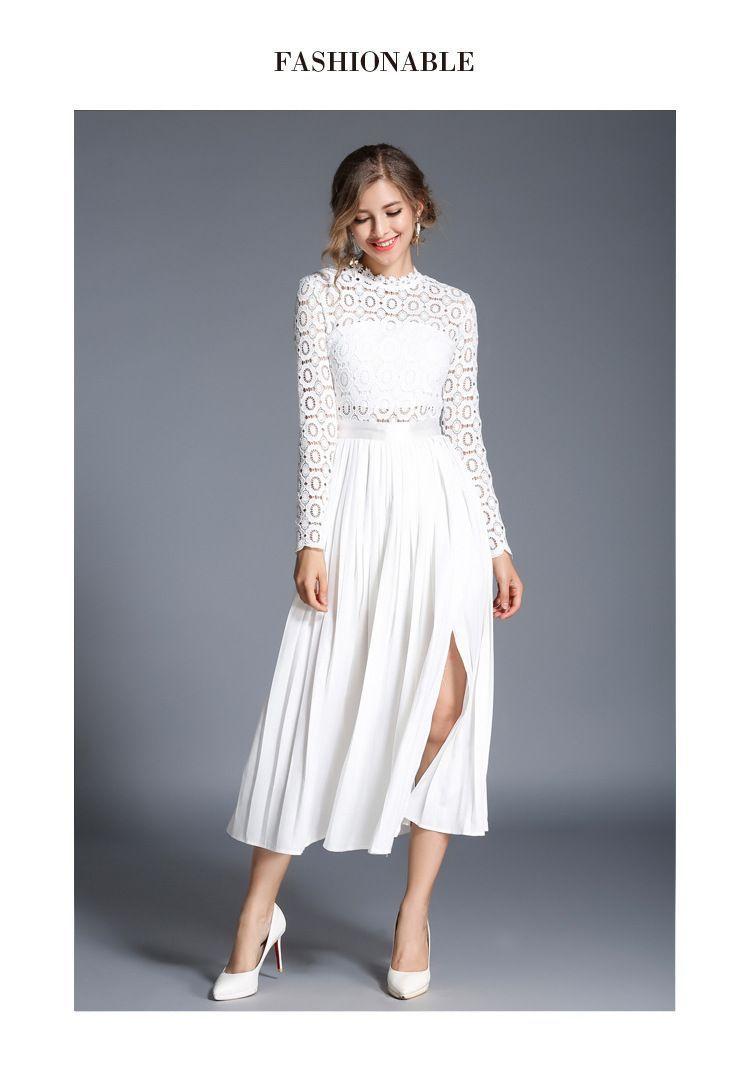 Elegant white lace long sleeve midi dress long sleeve