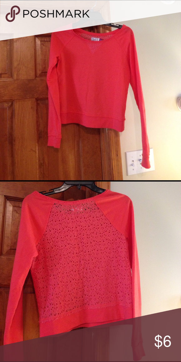 Sweater Cute see through lace back. Cute with tight tank under that will give a layered look Tops Tees - Long Sleeve