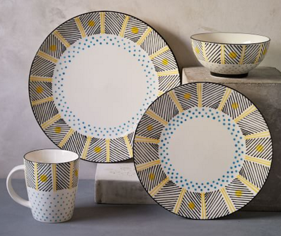 Hand Painted Stoneware Dishes In Black And Yellow African Bead Like Pattern Dinnerware Set Modern Modern Dinnerware Ceramic Dinnerware Set