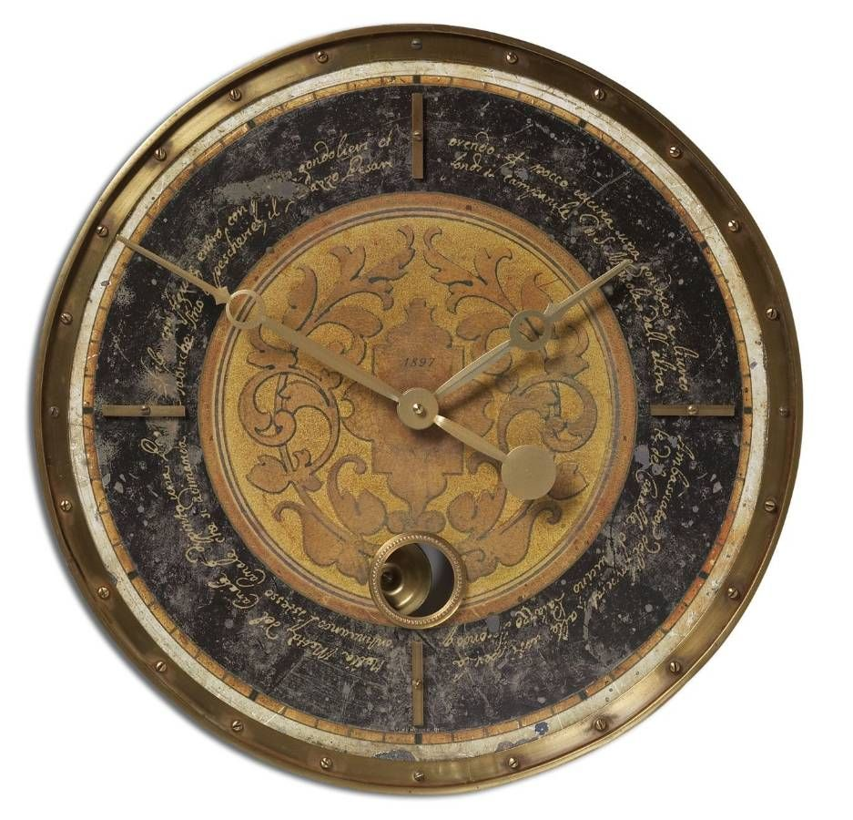 Timeworks 18 old world tuscan distressed wall clock features a timeworks 18 old world tuscan distressed wall clock features a weathered laminated clock amipublicfo Image collections