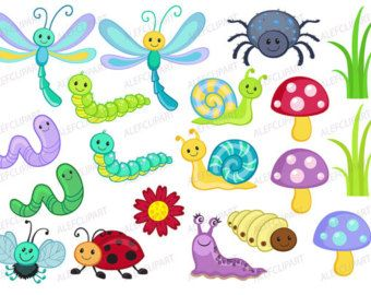 cute bugs clipart and digital paper set pinterest digital rh pinterest com cute bug clipart free Cute Flower Clip Art