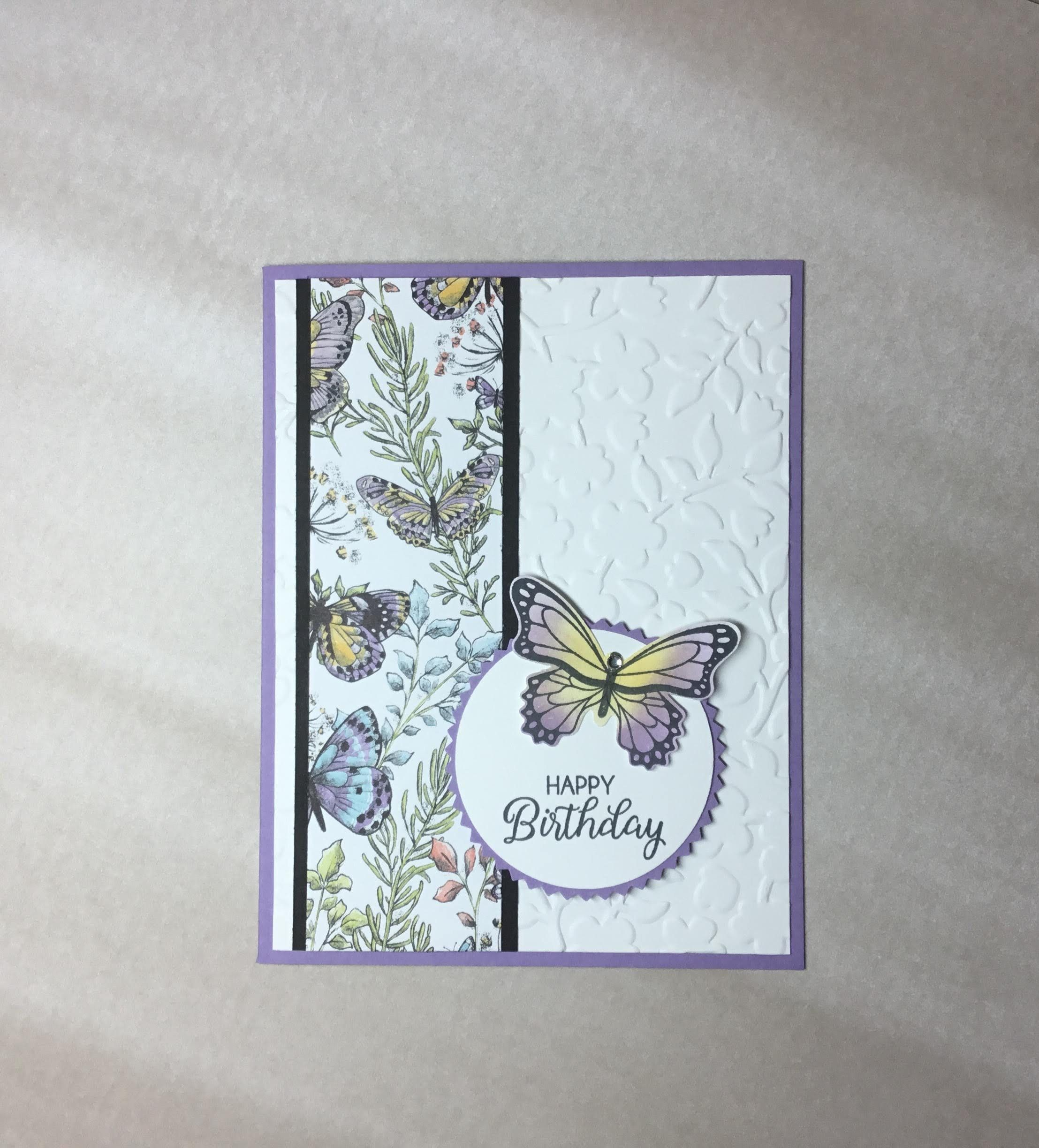 Happy Birthday Mom Girl Purple Butterfly with Embossed Flowers