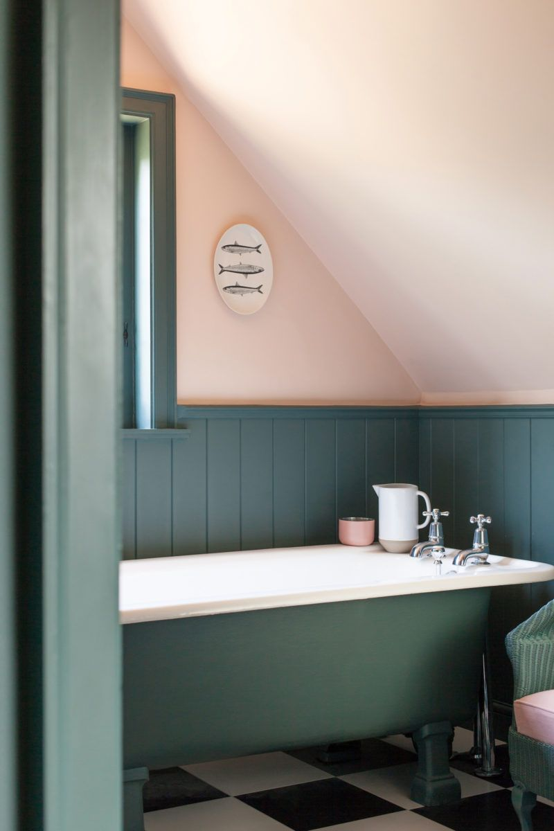 Bathroom With Forest Green Bath Painteed Wood Panelling And Light Blush Pink Walls Green Bathroom Teal Bathroom Pink Bathroom