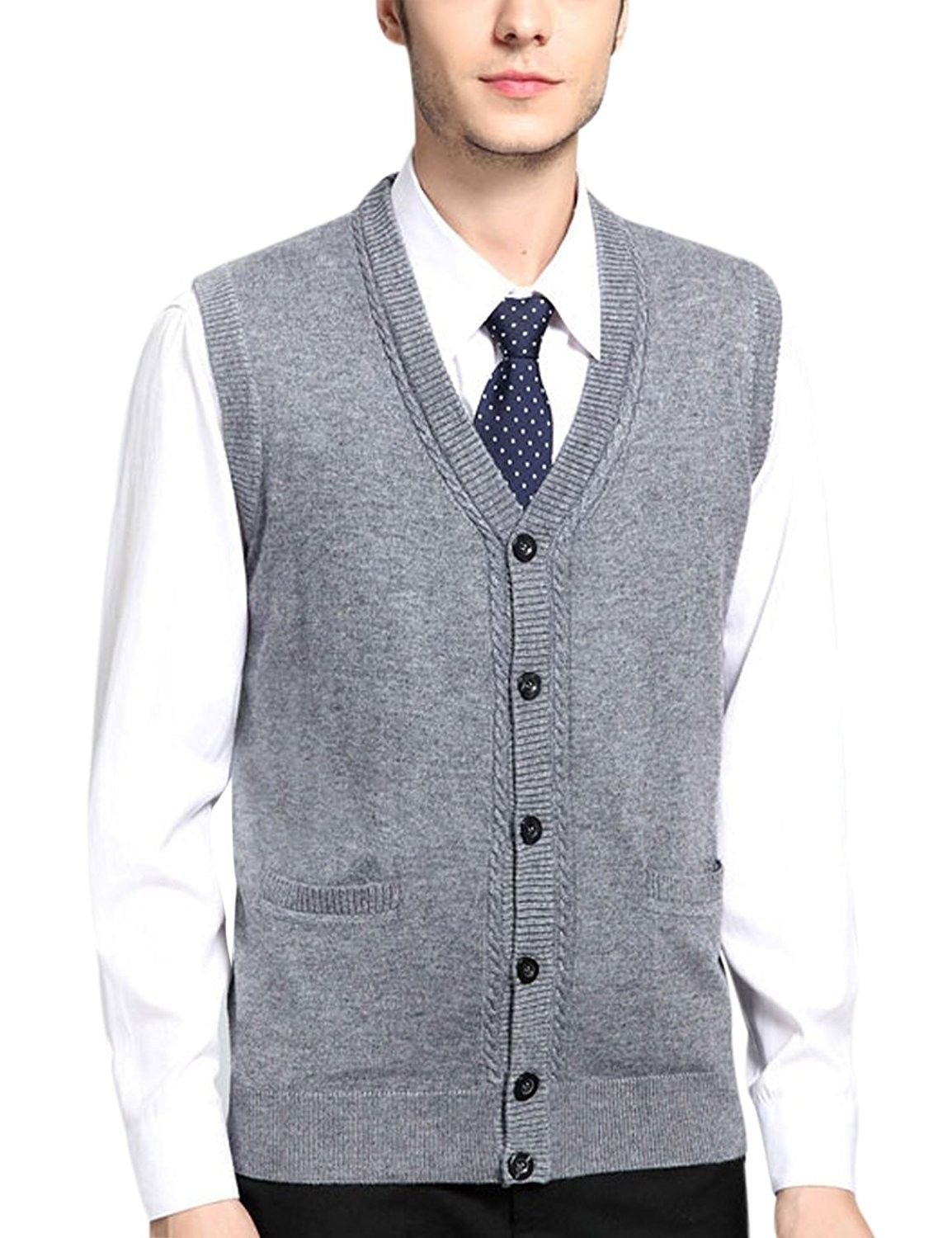 Men's V Neck Wool Cashmere Sleeveless Button Down Sweater