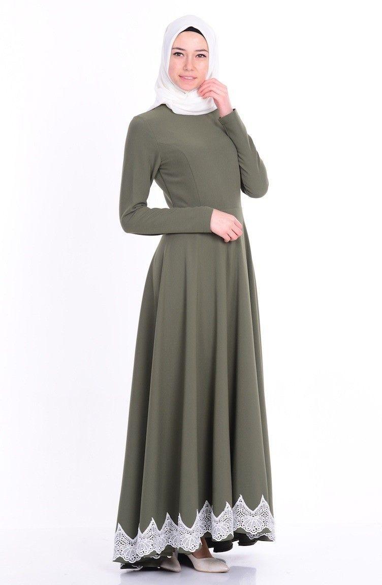 Sefamerve Tesettur Asimetrik Kesim Dantelli Elbise Modelleri Moda Tesettur Giyim Elbise Modelleri Elbise The Dress