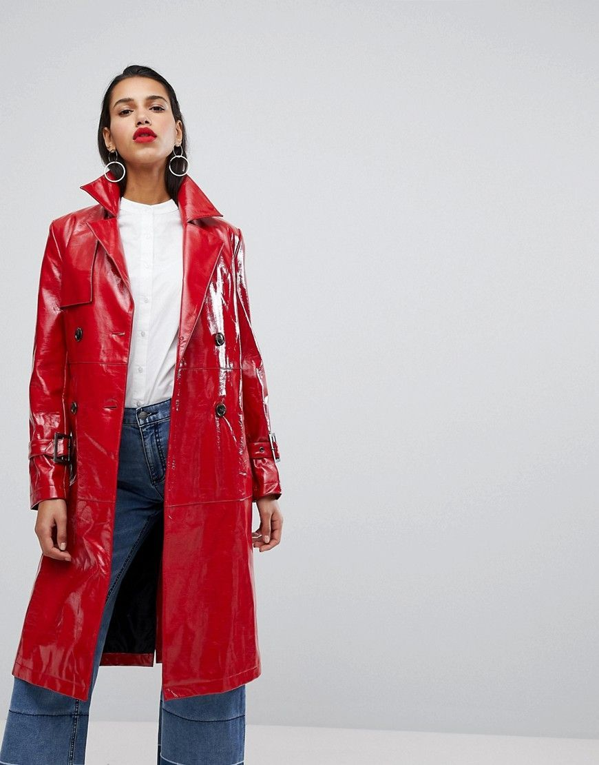 Neon Rose Oversized Trench Jacket In High Shine Vinyl Red