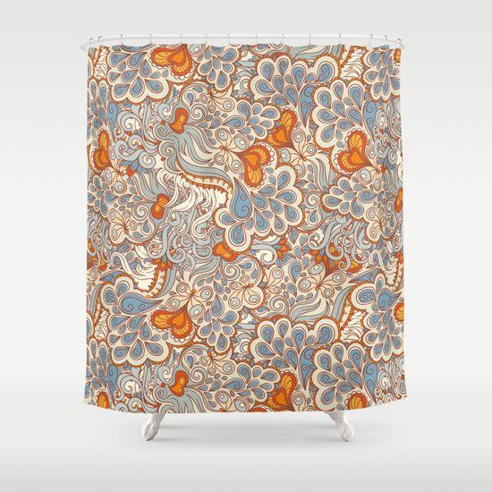 orange and blue pattern shower curtain dining room kitchen redo curtains kitchen redo bathroom. Black Bedroom Furniture Sets. Home Design Ideas