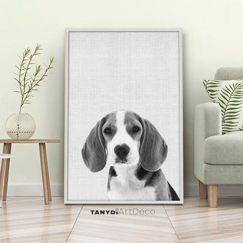 Cute puppy beagle head wall art print black white dog