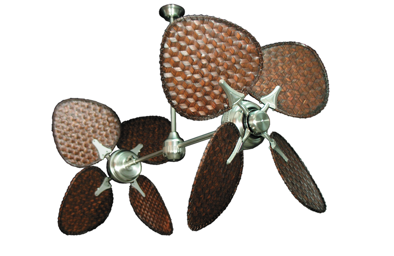 Twin Star Ii Brushed Steel Tropical Dual Ceiling Fan With