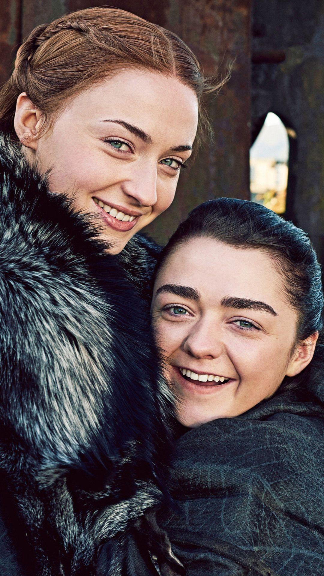 Arya Stark And Sansa Stark Game Of Thrones Season 7 In 1080x1920 Resolution Arya And Sansa Maisie Williams Sansa Stark
