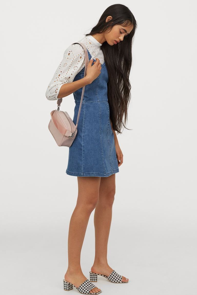 H M Denim Dress Denim Dress Flare Skirt Blue Denim [ 1152 x 768 Pixel ]