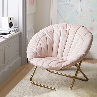 Dusty Blush Lustre Velvet Channel Stitch Hang A Round Chair #pbteen