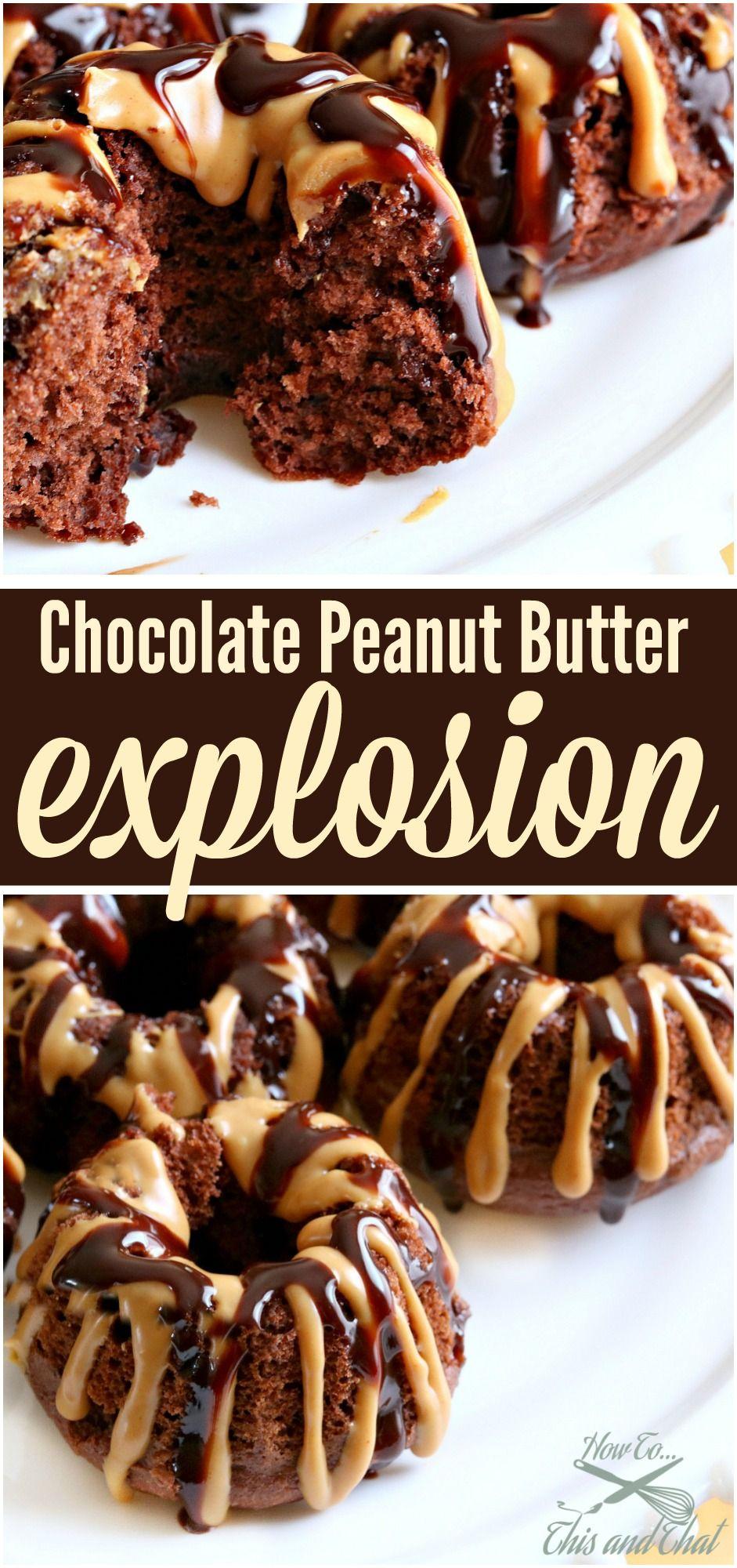 Chocolate Peanut Butter Explosion Bundt Cakes