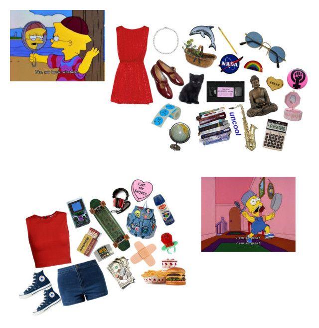 """bart n lisa"" by srmcghee ❤ liked on Polyvore featuring Alice + Olivia, David Yurman, Me & Zena, Dixon Ticonderoga, Converse and Nintendo"
