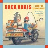 Boer Boris heeft het druk op de boerderij. Vierkant hardkartonnen tekstloos prentenboek met identieke zoekplaten op de linker- en rechterpagina, waarop een ...
