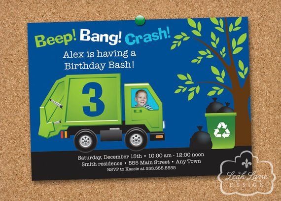 Garbage Truck Birthday Invitation With PHOTO