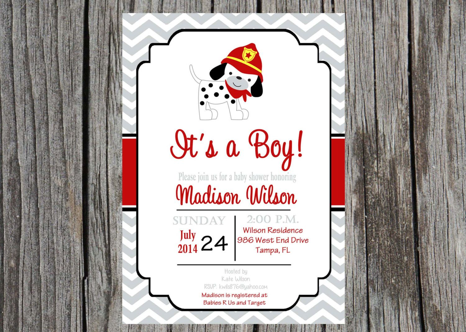 Fireman baby shower invitation, dalmatian invitation, firefighter ...