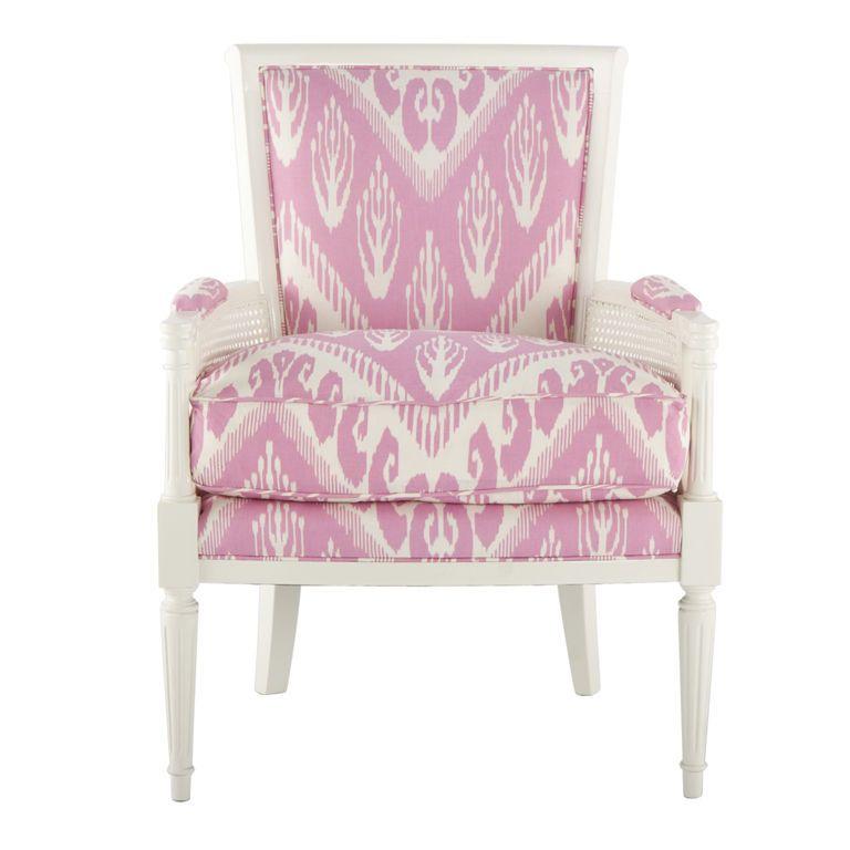 Ceylon & Cie Mid-Century Chair Hollywood Regency Louis XVI - Michelle Nussbaumer Shocking Pink Chevron Ikat