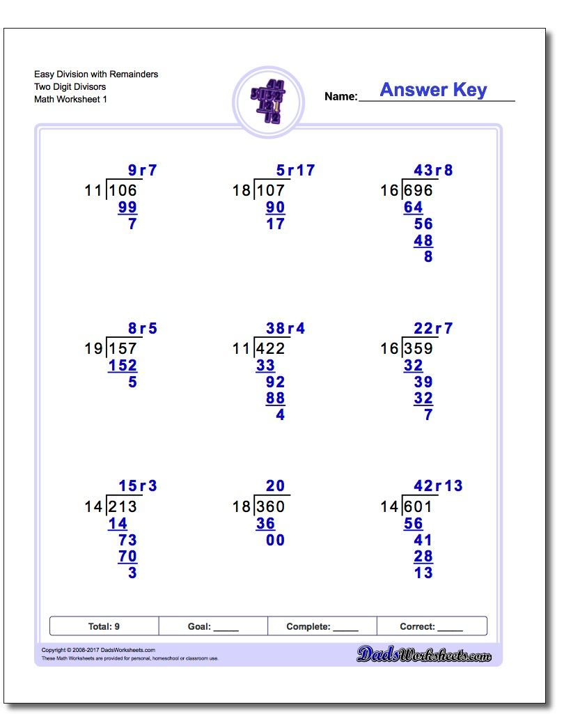 Long Division Worksheets With Multiple Digit Divisors Sets With And