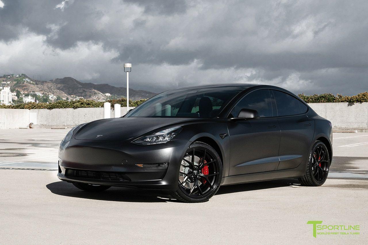 Satin Black Performance Tesla Model 3 With Matte Black 20 M3115 Forged Wheels By T Sportline Tesla Model Tesla Car Tesla